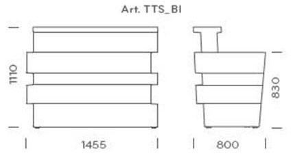 Bancone Tetris illuminabile Pedrali dimensioni e misure