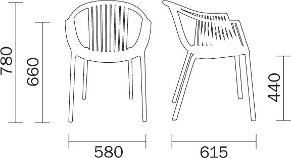 Sedia poltrona da esterno Tatami Pedrali dimensioni e misure