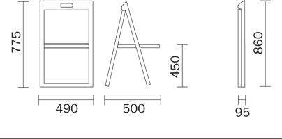 Folding chair Enjoy Pedrali dimensions