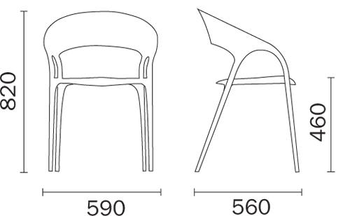 Chair Gossip Pedrali dimensions