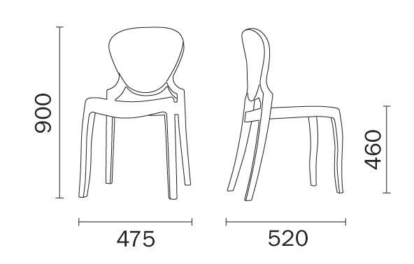 Chair Queen Pedrali dimensions
