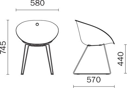 Sedia moderna Gliss Pedrali dimensioni e misure