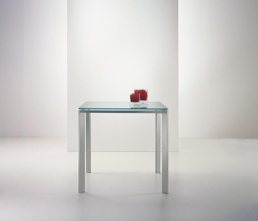 Tavolo pedrali logico 80x80 vetro acciaio design moderno for Tavolo vetro moderno