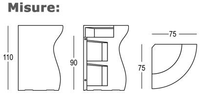 Bancone Bartolomeo Corner Plust dimensioni e misure