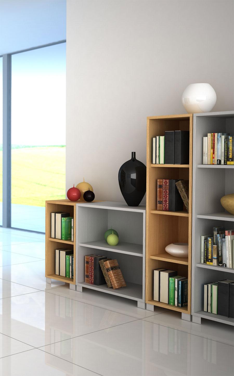 Mobile libreria design basso in legno arredare moderno - Mobile basso moderno ...