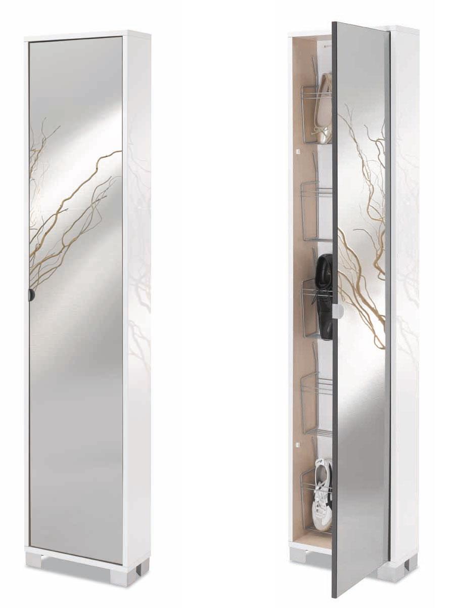 Mobile scarpiera bagno soggiorno camera design moderno bianco legno specchio ebay - Scarpiera con specchio ...