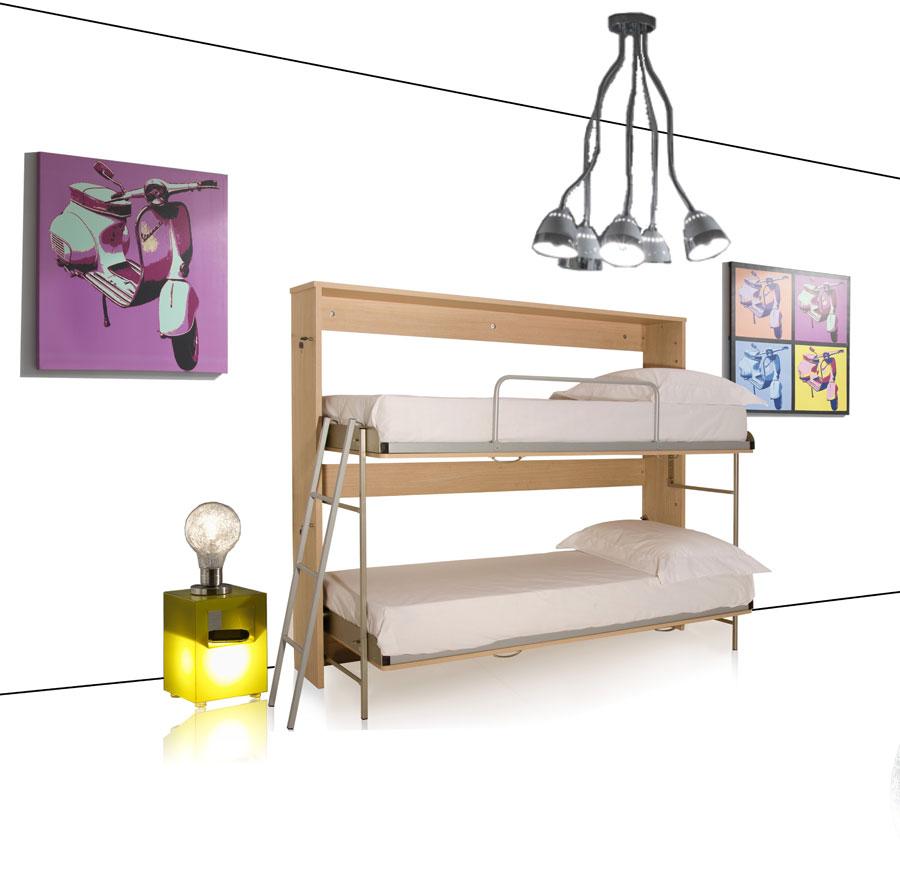 Letto a castello scomparsa camera da letto moderno design tomasucci slim rovere ebay - Letto a castello usato ...