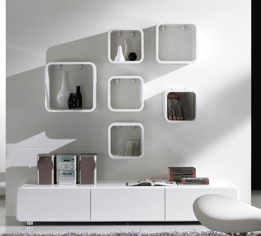 Mensola design muro moderno ufficio salotto soggiorno cubo for Libreria cubi ikea