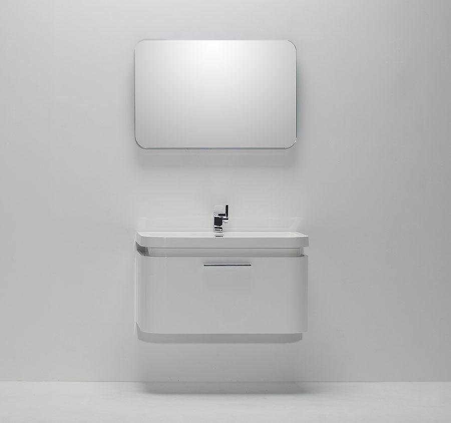 Mobile bagno bianco lucido sospeso moderno lavabo design - Bagno bianco lucido ...