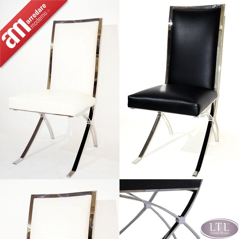 2 sedie design bianche stile moderno ecopelle for Sedie bianche ecopelle